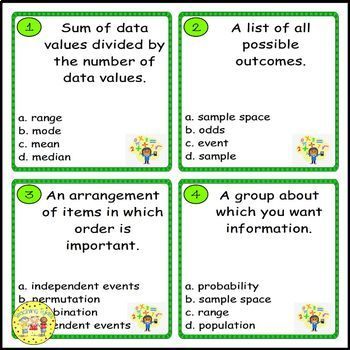 Data Analysis and Probability Pre-Algebra Task Cards