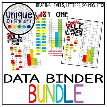 Data Binder BUNDLE: Letters, Sounds, Numbers, Words, Reading Levels and MORE!