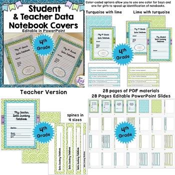 Data Binder Covers, Backs & Spines Editable BUNDLED set for Grades 1-6