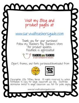 Data Binder/Folder Handouts for 7th Grade Science