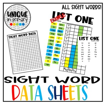 Data Binder: Fountas and Pinnell Sight Word Lists