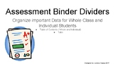 Data Collect Binder Dividers