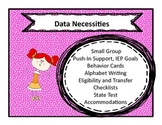 Special Education Checklists, Data Collection and Behavior Card Bundle