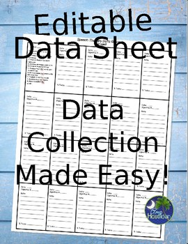 Speech Therapy Data Collection Editable for SLP's