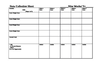Data Collection Grid (9 Weeks Template)