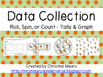 Data Collection - Roll, Spin, or Count - Tally and Graph - 8 Themes
