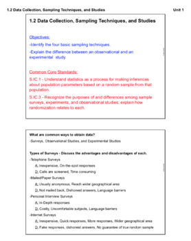 Data Collection, Sampling Techniques, and Studies (Lesson Plan with Homework)