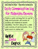 Data Collection Sheet: Daily Communication Log for Moderate/Severe
