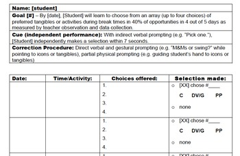 Data Collection Sheet - Making Choices