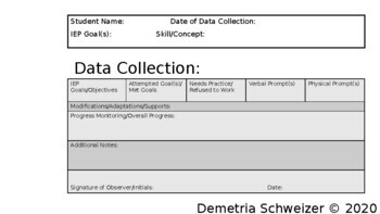 Data Collection Template for Special Education Teachers by ...
