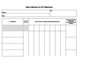 Data Collection for IEP Objectives Template