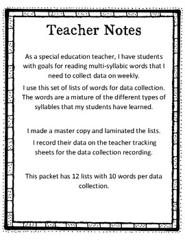 Data Collection for Multi-Syllabic Words