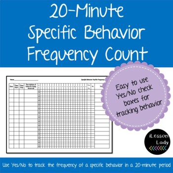 Data Collections Sheet for Specific Behavior Frequency Count, 20 Minutes Timed