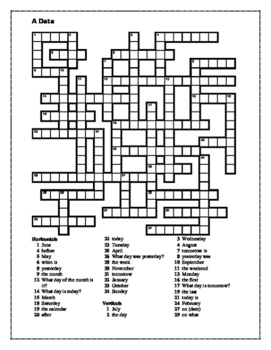 Data (Date in Portuguese) Crossword