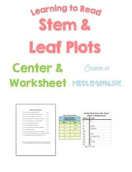 Data Analysis Worksheet - Reading & Analyzing Stem and Leaf Plots