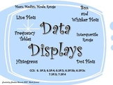 Data Displays:  Line Plots, Histograms, Box and Whisker Plots, Frequency Tables