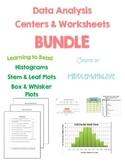 BUNDLE Data Analysis Centers & Worksheets- Histogram, Stem & Leaf, Box & Whisker