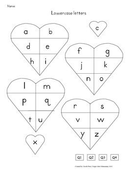 Data Folder Sheet- Hearts with lowercase letters