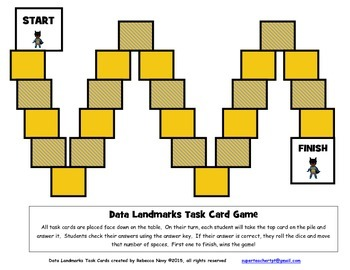 Data Landmark Task Cards (Maximum, Minimum, Range, Median, Mode, Mean)