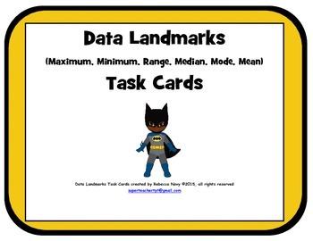 Data Landmark Task Cards (Maximum, Minimum, Range, Median,