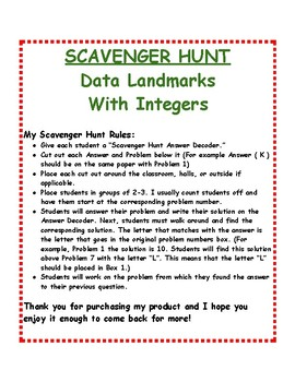 Data Landmarks With Integers: Scavenger Hunt