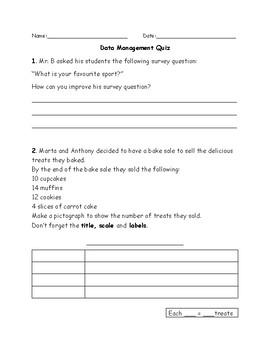 Data Management Assessments - Grade 3
