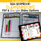 Superhero Theme Data Notebook (PDF & Google Classroom) Dis