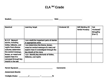 Data Notebook 3rd Grade Standard Sheets for student notebook