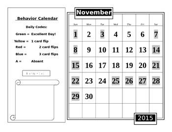 Data Notebook Behavior Calendar