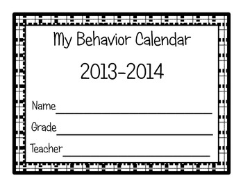 Data Notebook Behavior Calendar 2013-2014
