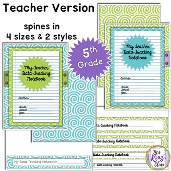 Data Notebook Cover Set for 5th Grade (Type Your Information in PPT)