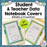 Data Notebook Covers for 1st Grade - First Grade Editable Data Binder Cover Set