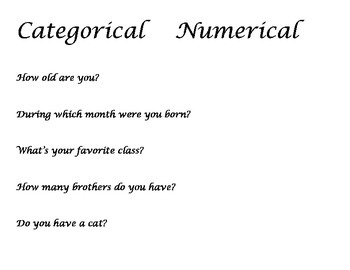 Data Question Types Sort: Categorical or Numerical