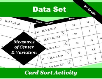 Data Set Measures of Center & Variation Card Sort