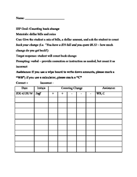 Data Sheet - Counting Back Change