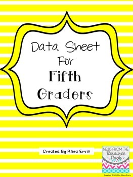 Data Sheet for 5th grade