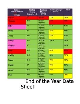 Data Sheet for the End of the Year-EDITABLE!