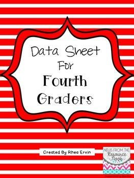 Data Sheet for 4th grade