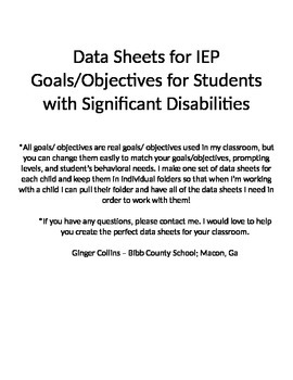 Data Sheets for IEP Goals and Objectives (Special Education)