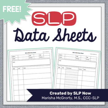 Editable Data Sheets For SLPs