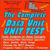 Data / Statistics Unit Test / Pre-Test - Mean, Median, Line Plot, Histogram, etc