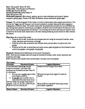 Data, Statistics, and Probability Lesson Plan and Worksheets