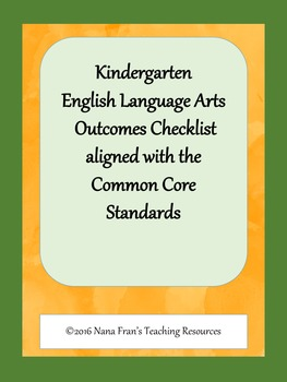 Data Tracking Sheets for Kindergarten ELA Common Core State Standards