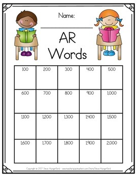 Data Tracking for Students - Accelerated Reader (AR) Words