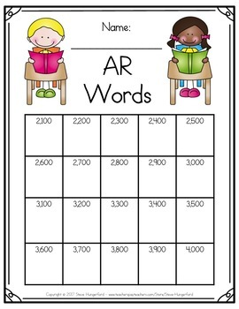 Data Tracking for Students - Accelerated Reader (AR) Words - EDITABLE