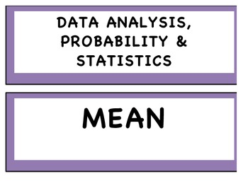 Data analysis and probability word wall