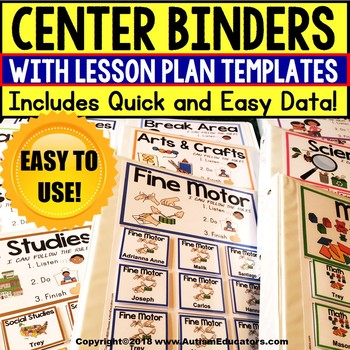 Data and Editable Lesson Plan Templates For DAILY CENTER BINDERS for Autism