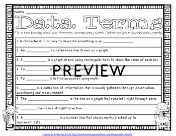 Data and Graphing Academic Vocabulary Workbook and Assessments for 3rd Grade