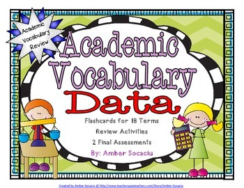 Data and Graphing Academic Vocabulary Workbook and Assessm