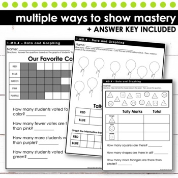 Data and Graphing - First Grade Print and Go